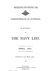 Navy List for April 1951