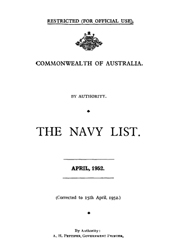 Navy List for April 1952