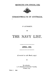 Navy List for April 1953