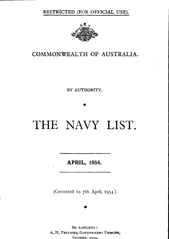 Navy List for April 1954
