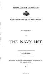Navy List for April 1958