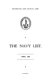 Navy List for April 1960