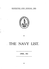 Navy List for April 1961