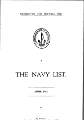 Navy List for April 1962