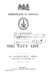 Navy List for January 1920