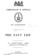 Navy List for January 1921