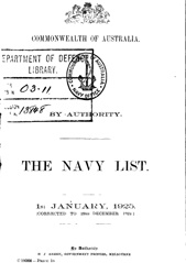 Navy List for January 1925