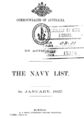 Navy List for January 1927