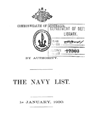 Navy List for January 1930