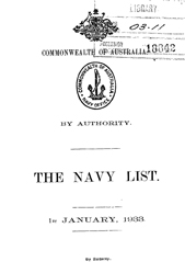 Navy List for January 1933