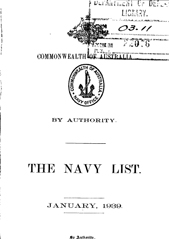 Navy List for January 1939