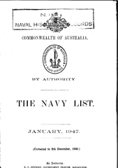 Navy List for January 1947