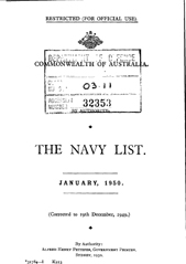 Navy List for January 1950