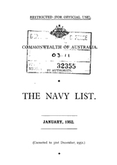 Navy List for January 1952