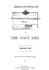 Navy List for January 1953
