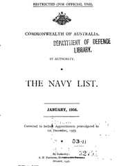 Navy List for January 1956