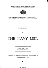 Navy List for January 1959