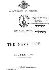Navy List for July 1926
