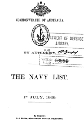 Navy List for July 1929