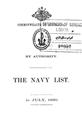 Navy List for July 1930