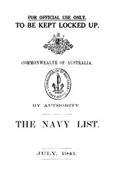 Navy List for July 1941