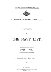 Navy List for July 1951