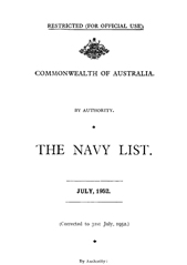 Navy List for July 1952