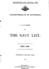 Navy List for July 1954
