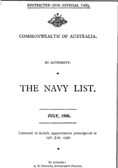 Navy List for July 1956