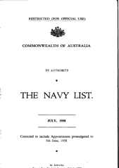 Navy List for July 1958