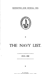 Navy List for July 1960