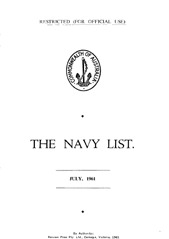 Navy List for July 1961