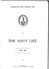 Navy List for July 1962