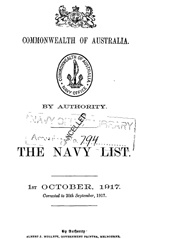 Navy List for October 1917
