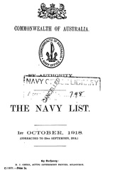 Navy List for October 1918