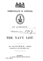 Navy List for October 1919