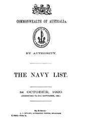 Navy List for October 1920