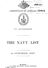 Navy List for October 1927