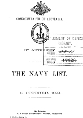 Navy List for October 1929