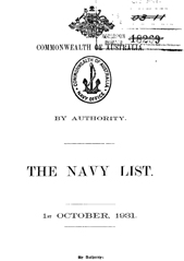 Navy List for October 1931