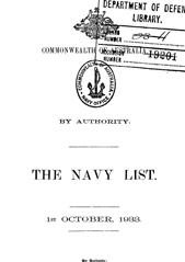 Navy List for October 1933