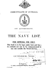 Navy List for October 1939