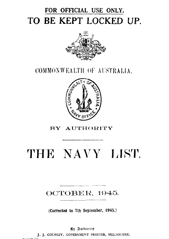 Navy List for October 1945