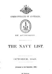 Navy List for October 1946