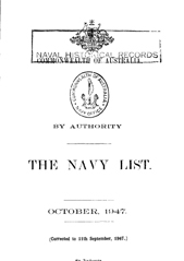 Navy List for October 1947