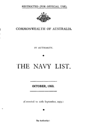 Navy List for October 1953