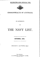 Navy List for October 1954
