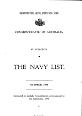 Navy List for October 1958