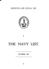 Navy List for October 1960
