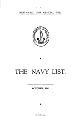 Navy List for October 1961